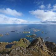 View over Henningsvær from summit of Festvågtind, Austvågøy, Lofoten Islands, Norway