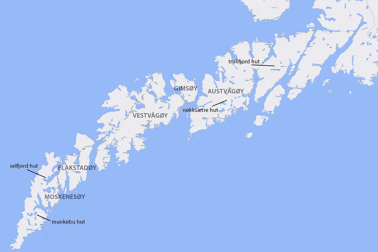 Map - Mountain Huts on Lofoten