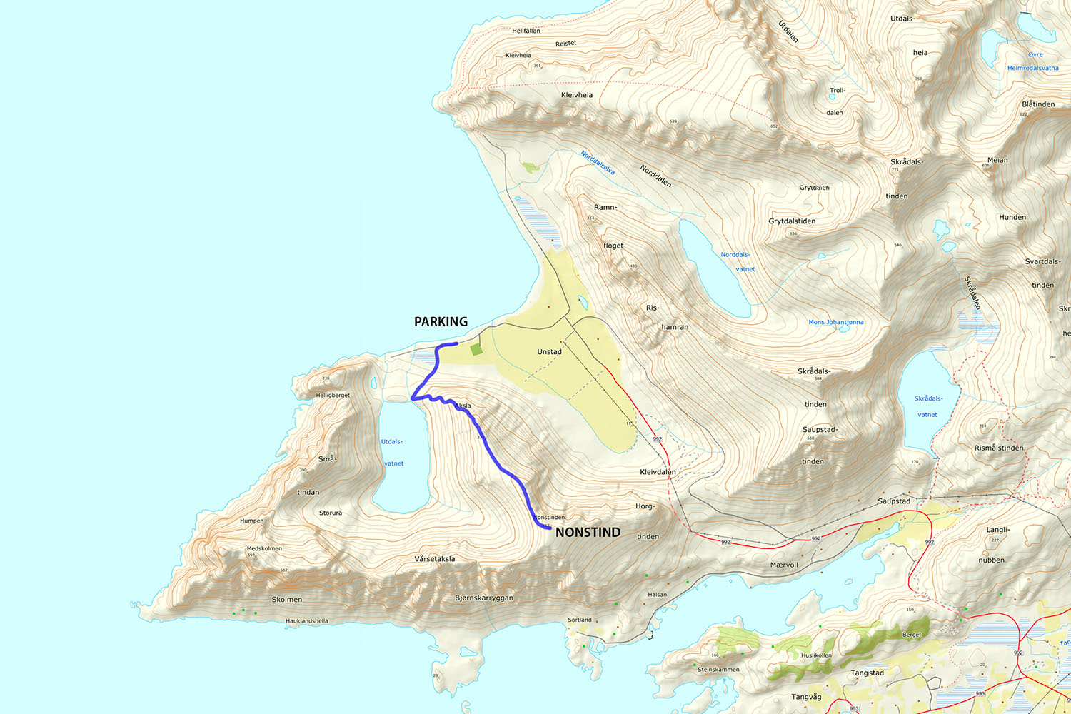 Nonstind Hiking Map
