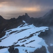 Mountain landscapes from the summit of Hustind, Flakstadøy, Lofoten Islands, Norway