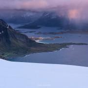 Mountain landscapes from the summit of Hustind, Flakstadøy, Lofoten Islands, Norway