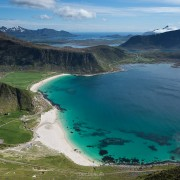 View over Haukland beach from summit of Mannen, Vestvågøy, Lofoten Islands, Norway