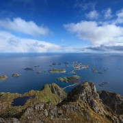 View over Henningsvær from summit of Festvågtind, Austvågøy, Lofoten Islands, Norway
