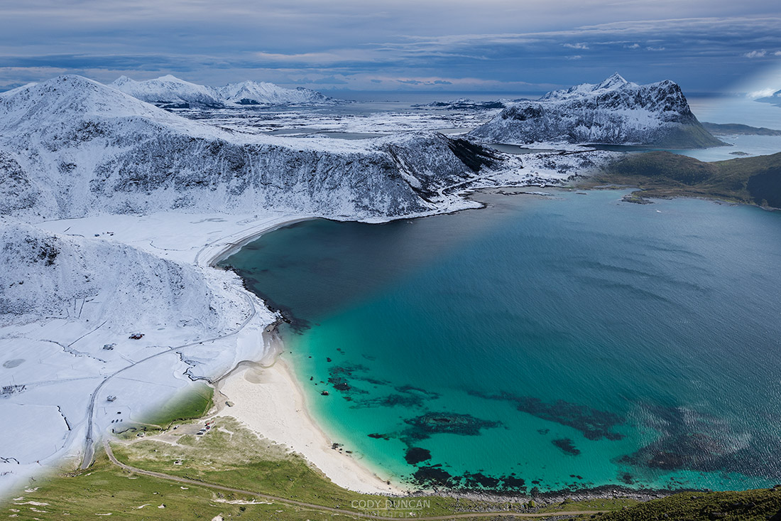 Haukland beach in summer and winter, Lofoten Islands, Noway