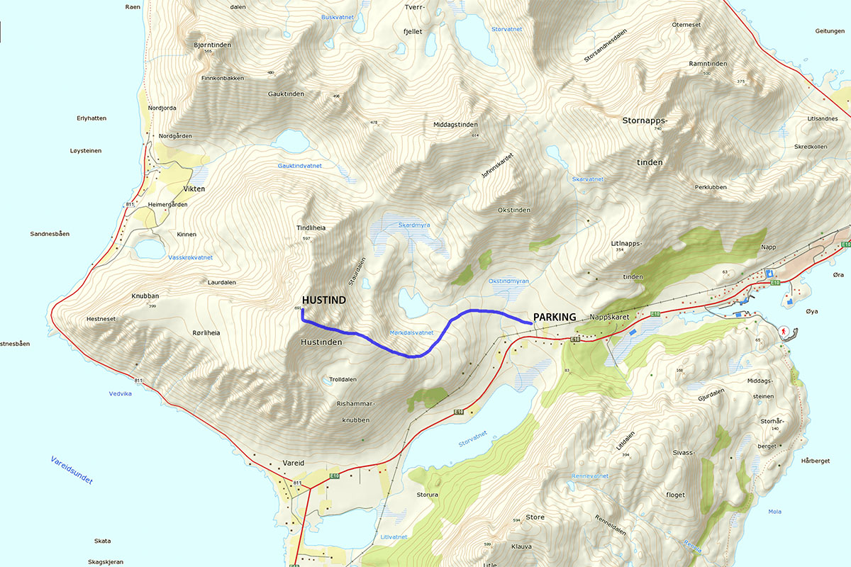Hustind hiking map