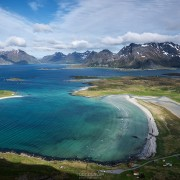 View over Yttersand beach, Moskenesøy, Lofoten Islands, Norway
