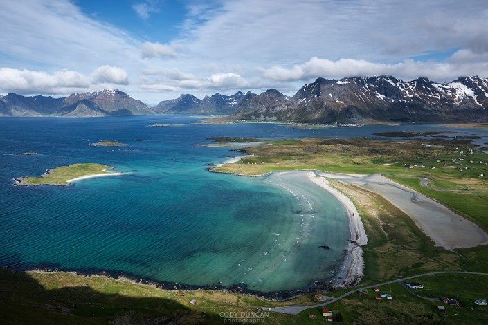 View over Yttersand beach, Moskenesøy, Lofoten Islands, Norway