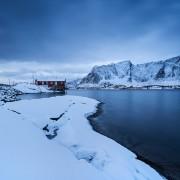 orbu cabins in winter, Toppøy, Reine Moskenesøy, Lofoten Islands, Norway