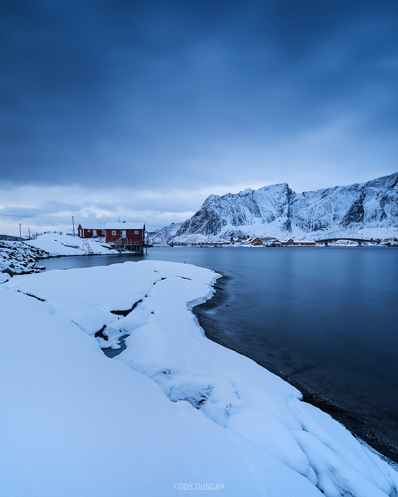 orbu cabins in winter, Toppøy, Reine Moskenesøy, Lofoten Islands, Norway
