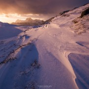 Winter sunrise over mountain landscape, Moskenesøy, Lofoten Islands, Norway