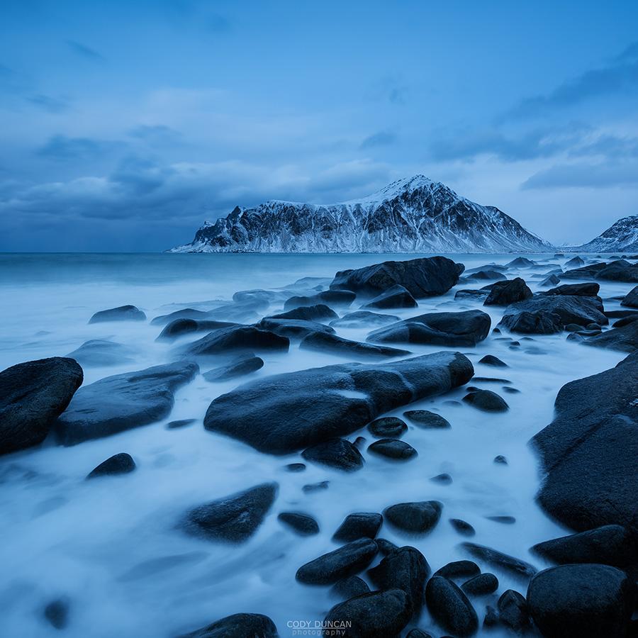 Rocky coastline of Flakstadøy, Lofoten Islands, Norway