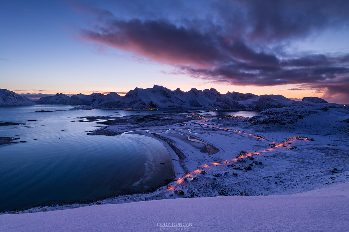 Ytresand Beach Winter Sunrise, Lofoten Islands, Norway