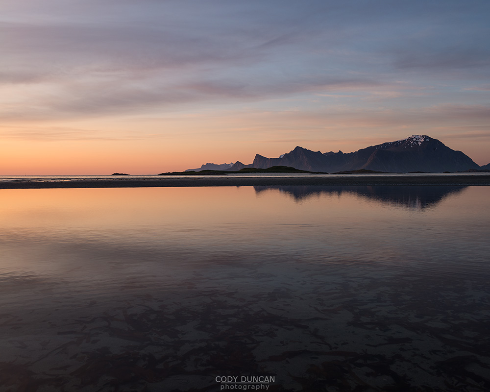 Midnight Sun, Ytresand, Lofoten Islands, Norway