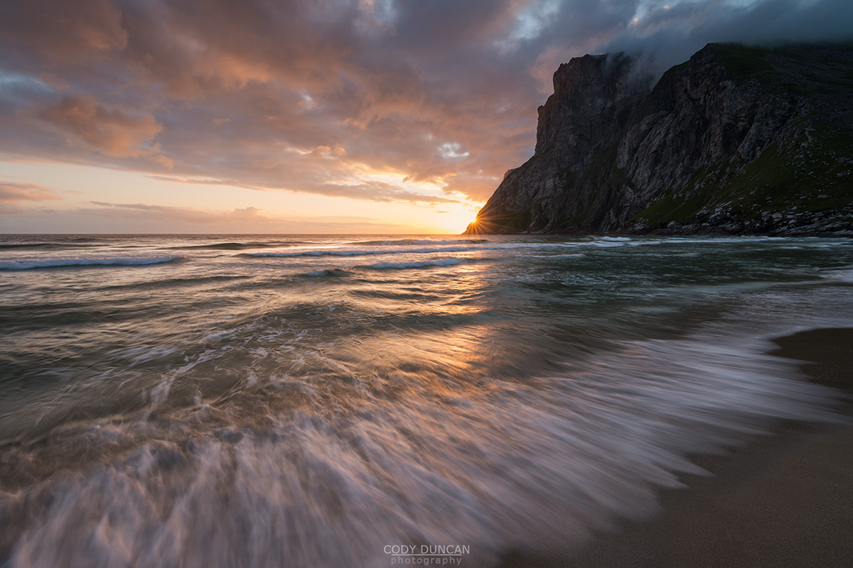 Kvalvika Beach Midnight Sun, Lofoten Islands