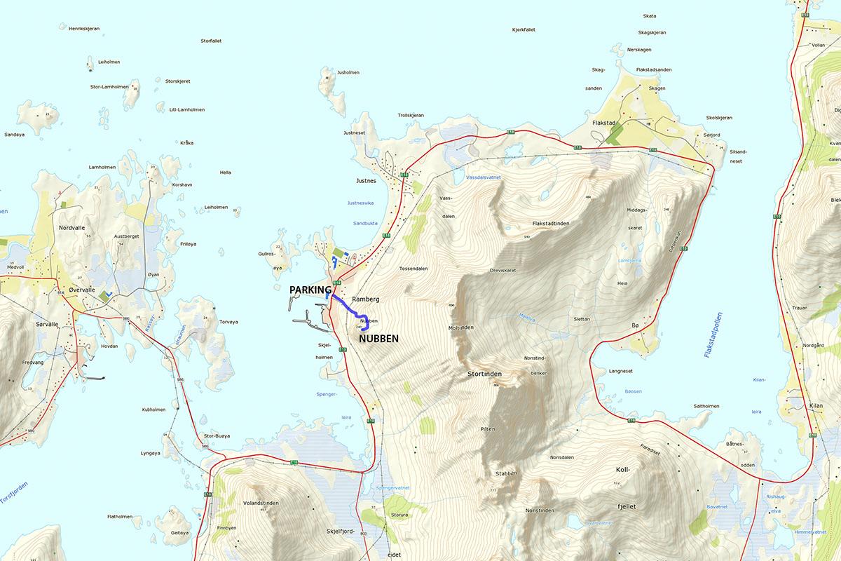 Nubben Hiking Map