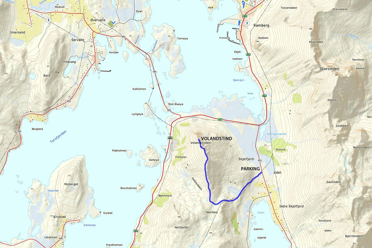 Volandstind hiking map
