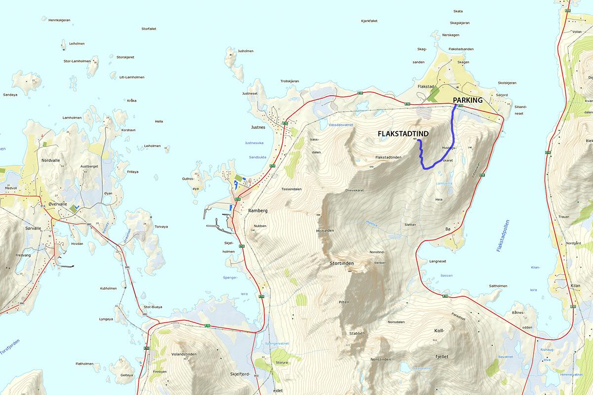 Flakstadtind Hiking Map