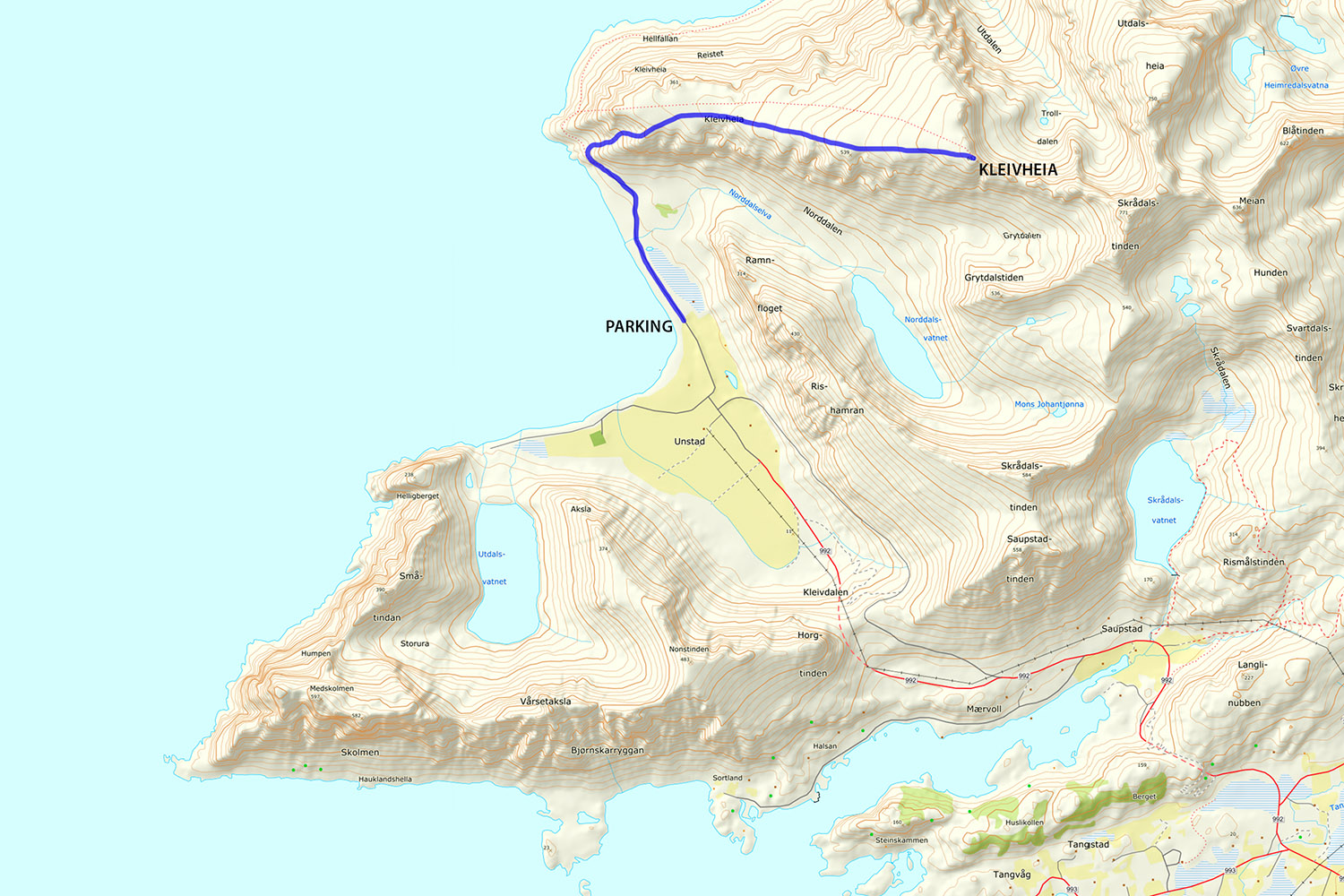 Kleivheia hiking map
