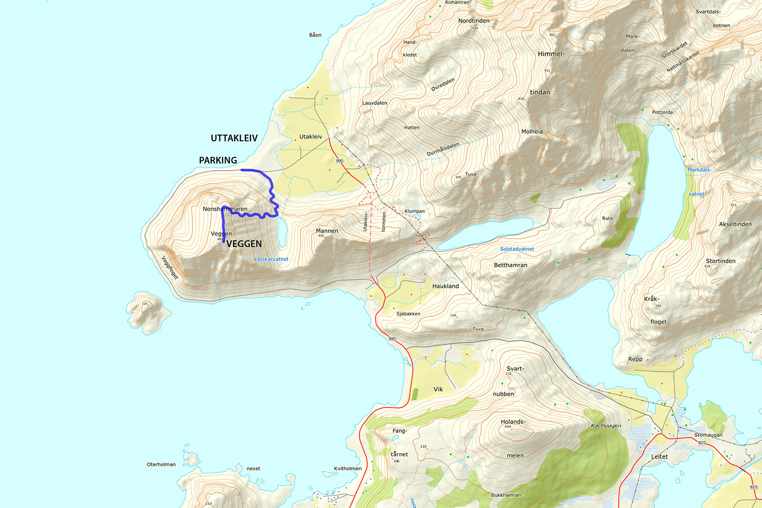 Veggen hiking map