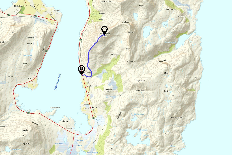 Blekktind hiking map