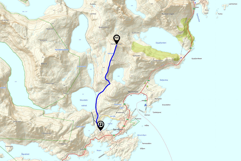 Merraflestinden Hiking Map